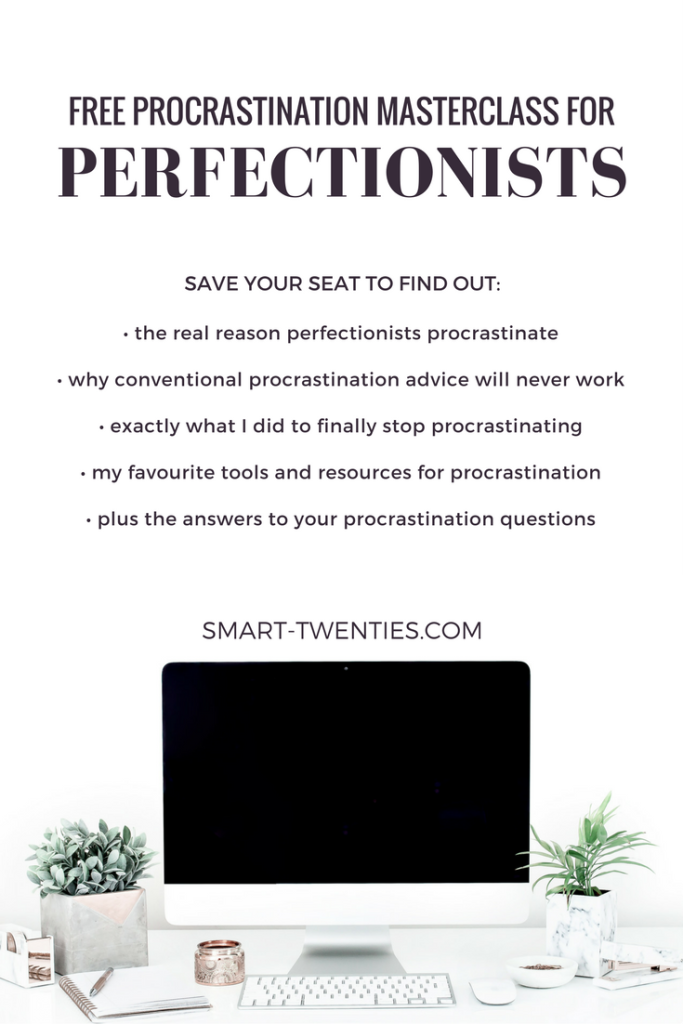 Save your seat at the free procrastination masterclass to get tips and advice to finally stop procrastinating! This masterclass is a must for perfectionist college students and millennials!