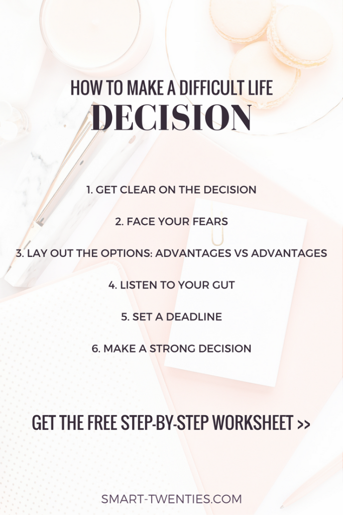 Facing a difficult life decision? Can't decide whether to quit your job? Get my free step-by-step worksheet to figure out what to do! Advice for your twenties!