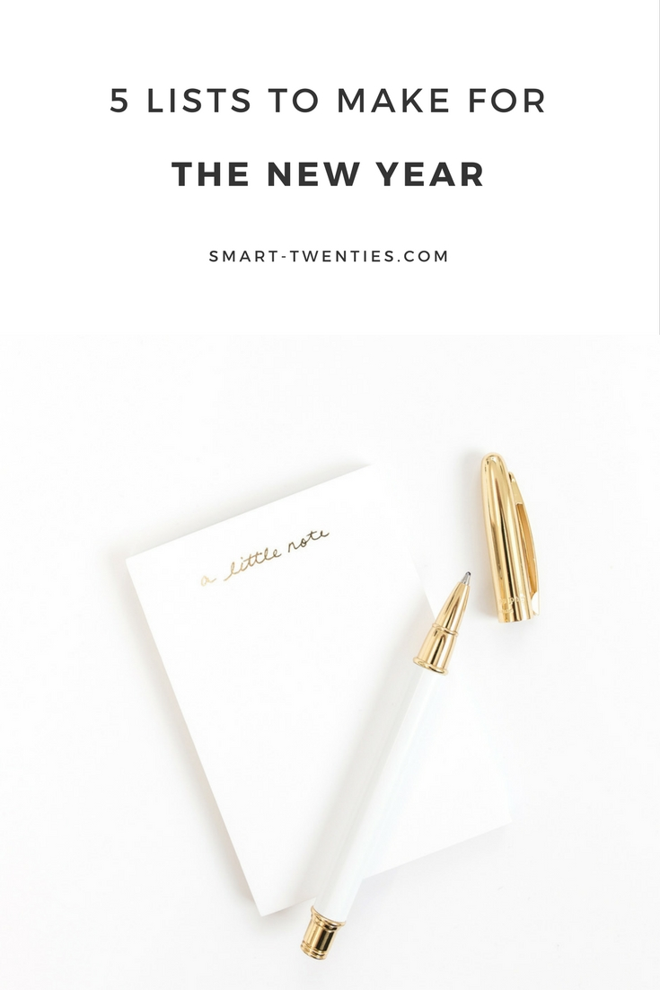 Want to achieve your goals and plans? Here are 5 lists to make for the new year. A must-read for inspiration and motivation for twenty-somethings and millennials.