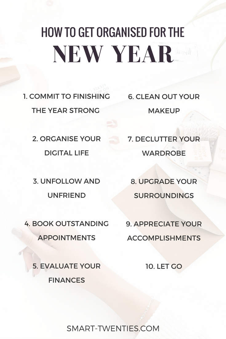 How to get organised for the new year and set yourself up for your best year yet. Organise your life with these tips to help you achieve your new years resolutions and goals.